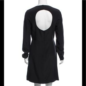 TIBI silk knee length black dress